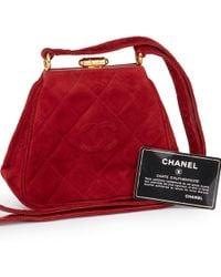 172960fde45e Chanel - Red Quilted Velvet Vintage Mini Timeless Frame Bag - Lyst