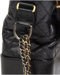 d1601240e131 Chanel - Black Quilted Aged Calfskin Leather Gabrielle Hobo Bag - Lyst
