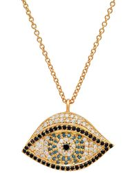 Established - Diamond And Sapphire Evil Eye Necklace - Lyst