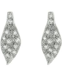 Cathy Waterman - Diamond Leaf Stud Earrings - Lyst