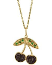 Sydney Evan - Cherry Charm Necklace - Lyst