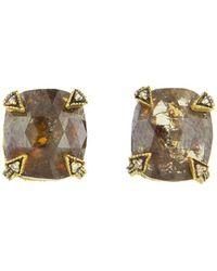 Cathy Waterman - Cushion Cut Rustic Diamond Blackened Thorn Stud Earrings - Lyst