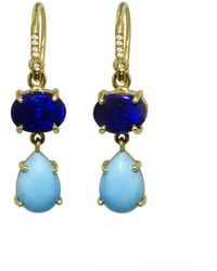 Irene Neuwirth - Blue Opal And Turquoise Teardrop Drop Earrings - Lyst