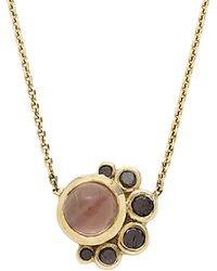 Mociun - Sunstone And Black Diamond Crescent Necklace - Lyst