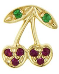 Sydney Evan - Right Emerald And Ruby Cherry Single Stud Earring - Lyst