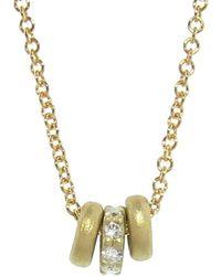 Tate - Tiny Donut Triplet Necklace With Diamonds - Lyst
