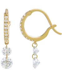 Raphaele Canot - Double Diamond Set Free Mini Hoop Earrings - Lyst