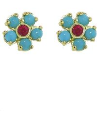 Jennifer Meyer - Turquoise And Ruby Flower Earrings - Lyst