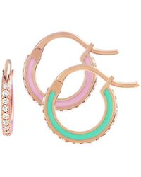 Raphaele Canot - Green And Pink Skinny Deco Hoop Earrings - Lyst