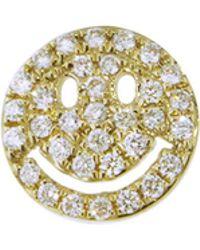 Sydney Evan - Pavé Diamond Happy Face Stud Earring - Lyst