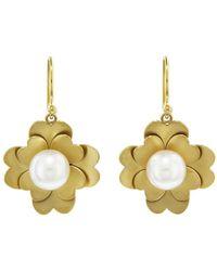 Irene Neuwirth - Akoya Pearl Flat Gold Flower Earrings - Lyst