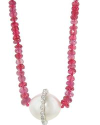 Cathy Waterman - Long Pink Sapphire Strand Necklace With South Sea Pearl - Lyst