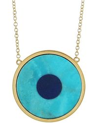 Jennifer Meyer - Turquoise Inlay And Lapis Center Eye Necklace - Lyst