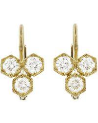Cathy Waterman - Triple Hexagonal Diamond Earrings - Lyst