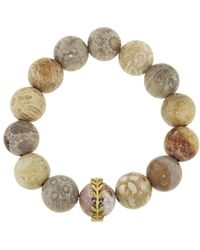 Cathy Waterman - Light Fossilized Coral Wheat Overlay Bracelet - Lyst