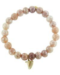 Sydney Evan - Conch Shell Charm On Mystic Peach Moonstone Beaded Bracelet - Lyst