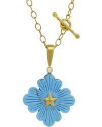 Cathy Waterman - Turquoise Flower Texas Star Charm - Lyst