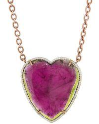 Irene Neuwirth - Watermelon Tourmaline And Diamond Pavé Heart Necklace - Lyst