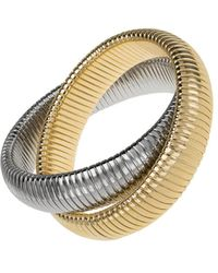Janis Savitt - Large High Polished Gold And Rhodium Double Cobra Bracelet - Lyst