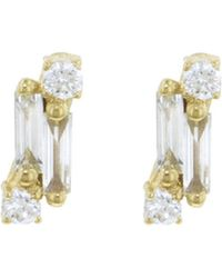 Suzanne Kalan - Single Baguette And Round Diamond Stud Earrings - Lyst