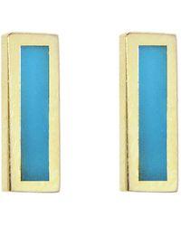 Jennifer Meyer - Turquoise Inlay Bar Stud Earrings - Lyst