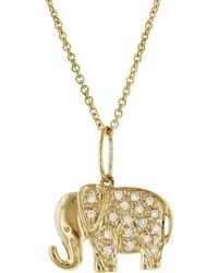Sydney Evan - Small Diamond Elephant Necklace - Lyst