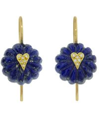 Cathy Waterman - Lapis Heart Bead Earrings - Lyst
