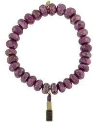 Sydney Evan - Lipstick Charm On Diamond Red Moonstone Beaded Bracelet - Lyst