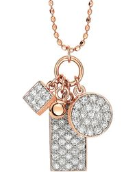 Ginette NY - Mini White Diamond Ever Charm Necklace - Lyst