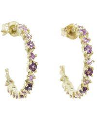 Ruta Reifen - Pink Sapphire And Rhodolite Happy Hoop Earrings - Lyst