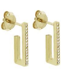 Jennifer Meyer - Diamond Rectangle Mini Hoop Earring - Lyst