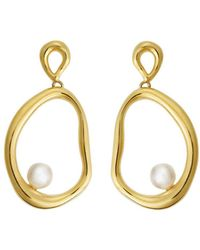 Ileana Makri - Flow Dangling Pearl Hoop Earrings - Lyst