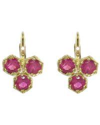 Cathy Waterman - Triple Ruby Hexagonal Earrings - Lyst