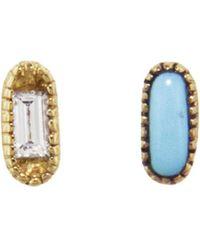 Mociun - Mismatched Oblong Diamond Turquoise Stud Earrings - Lyst