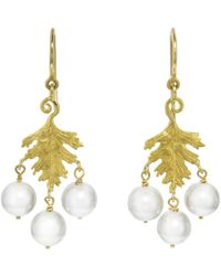 Cathy Waterman - Pearl Leaf Earrings - Lyst