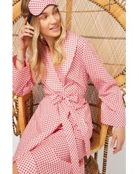 YOLKE - Scallop Print Cotton Dressing Gown - Lyst
