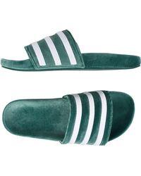 adidas Originals - Adilette Velvet Slider Flip Flops In Green By9907 - Lyst