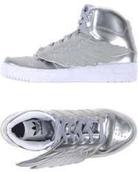 Jeremy Scott for adidas | Wing-Detailed Metallic-Leather High-Top Sneakers | Lyst
