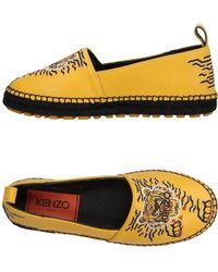 KENZO - Women's Yellow Leather Espadrilles - Lyst