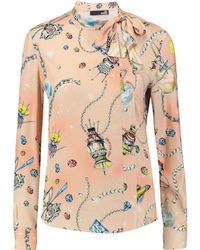 Love Moschino - Pussy-bow Printed Satin-twill Blouse - Lyst