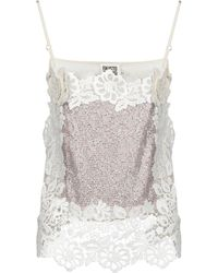 1323fdbf1e524 Lyst - Fausto Puglisi Embellished Lace   Silk Tank Top in Pink