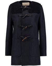 Maison Kitsuné - Bouclé-paneled Wool Duffle Coat Midnight Blue Size 36 - Lyst
