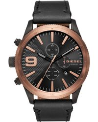 DIESEL - Advanced Rasp Chrono Leather-strap Watch - Lyst