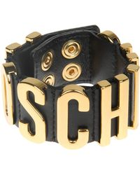 Moschino - Black Leather Gold Plated Cuff - Lyst