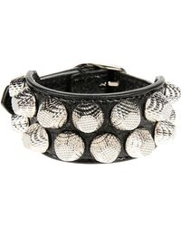 Balenciaga - Giant Triple Tour Textured-leather And Silver-tone Bracelet - Lyst