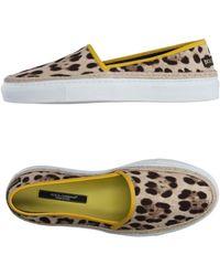 Dolce & Gabbana - Leopard-print Canvas Slip-on Trainers - Lyst