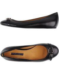 67b4fb257e1 Lyst - Ralph Lauren Collection Nappa Calfskin Tisira Flat in Black