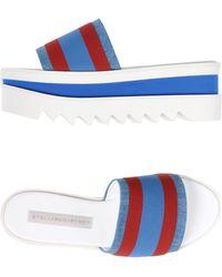 Stella McCartney - Striped Fabric Platform Slide Sandal - Lyst