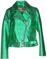 Golden Goose Deluxe Brand - Metallic Leather Jacket - Green - Lyst