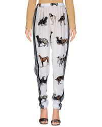 Stella McCartney - Dog Print Silk Trousers - Lyst